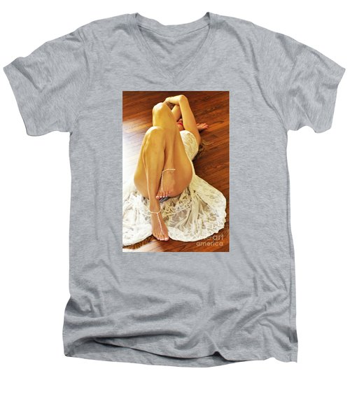 Men's V-Neck T-Shirt featuring the photograph Hardwood by Marat Essex
