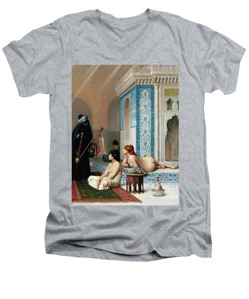 Harem Pool, Jean-leon Gerome Men's V-Neck T-Shirt