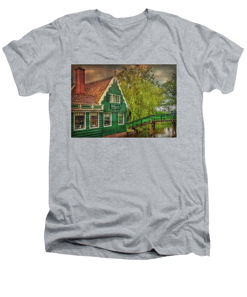 Men's V-Neck T-Shirt featuring the photograph Haremakerij At The Brook by Hanny Heim