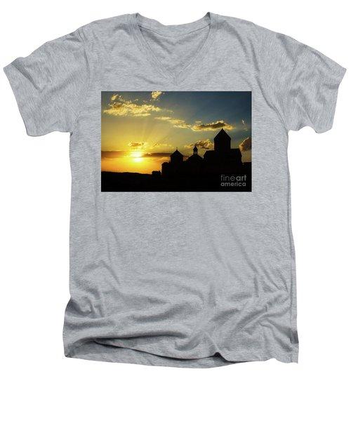 Harichavank Monastery At Sunset, Armenia Men's V-Neck T-Shirt by Gurgen Bakhshetsyan