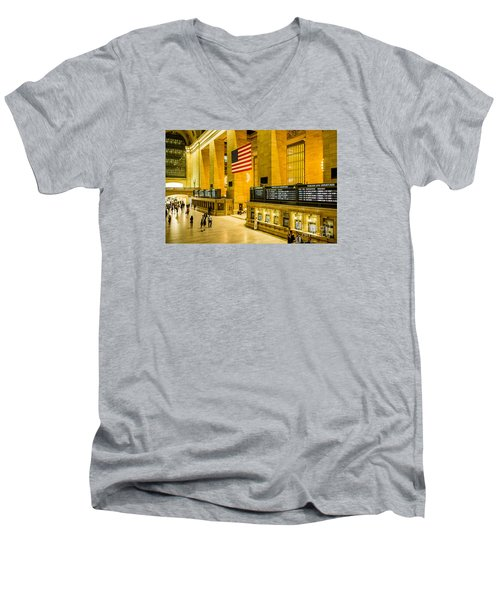 Men's V-Neck T-Shirt featuring the photograph Grand Central Pride by M G Whittingham