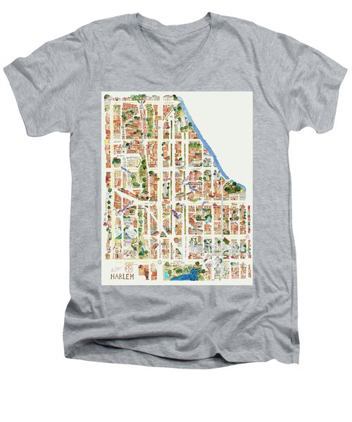 Harlem Map From 106-155th Streets Men's V-Neck T-Shirt