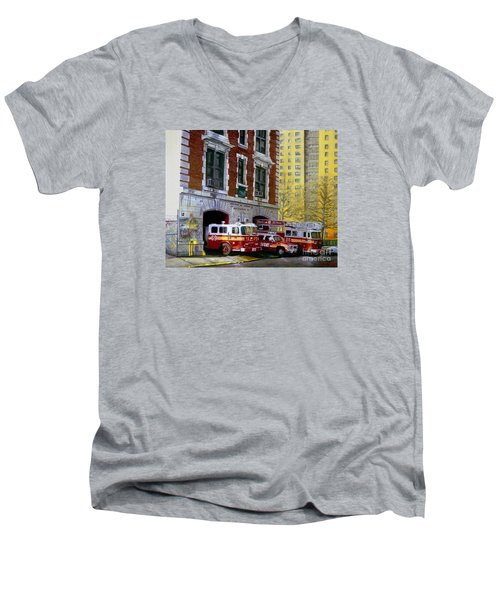 Harlem Hilton Men's V-Neck T-Shirt by Paul Walsh