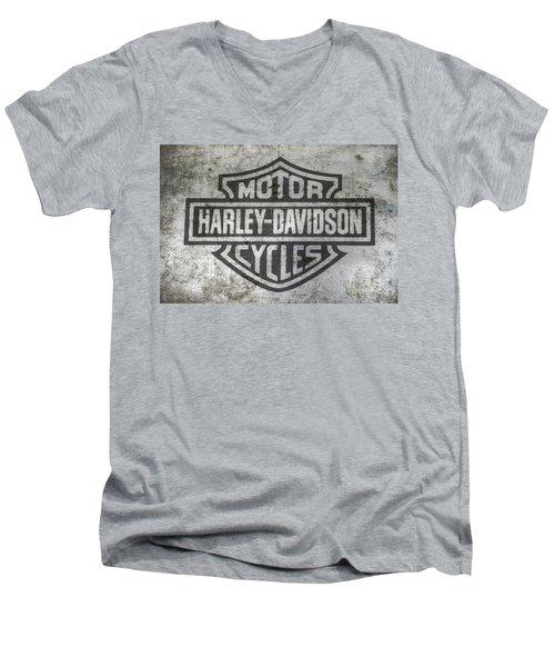 Harley Davidson Logo On Metal Men's V-Neck T-Shirt