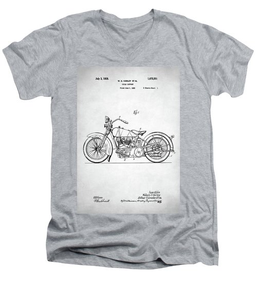 Men's V-Neck T-Shirt featuring the digital art Harley Davidson Patent by Taylan Apukovska