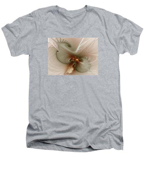 Men's V-Neck T-Shirt featuring the digital art Harmonius Coexistence by Karin Kuhlmann