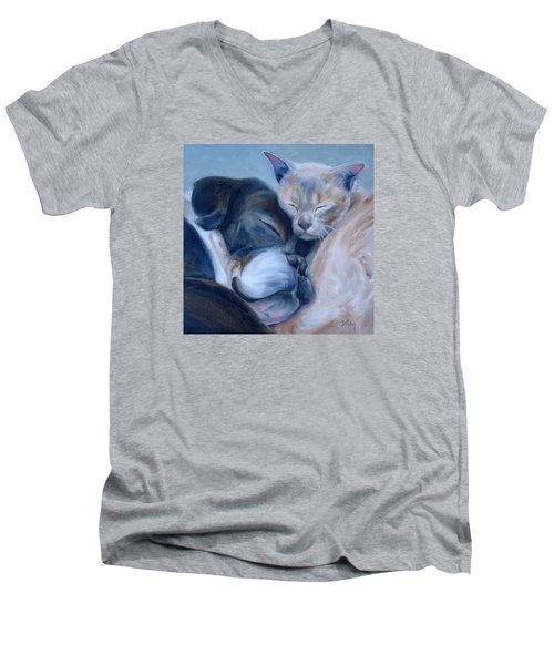 Men's V-Neck T-Shirt featuring the painting Harmony by Donna Tuten