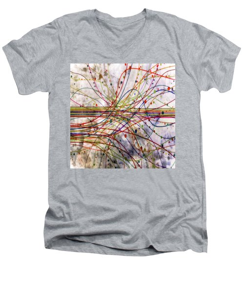 Men's V-Neck T-Shirt featuring the digital art Harnessing Energy 1 by Angelina Vick