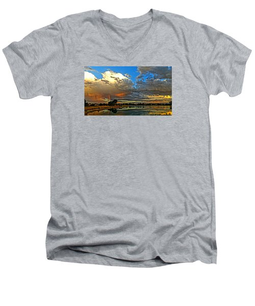 Men's V-Neck T-Shirt featuring the photograph Harper Lake by Eric Dee