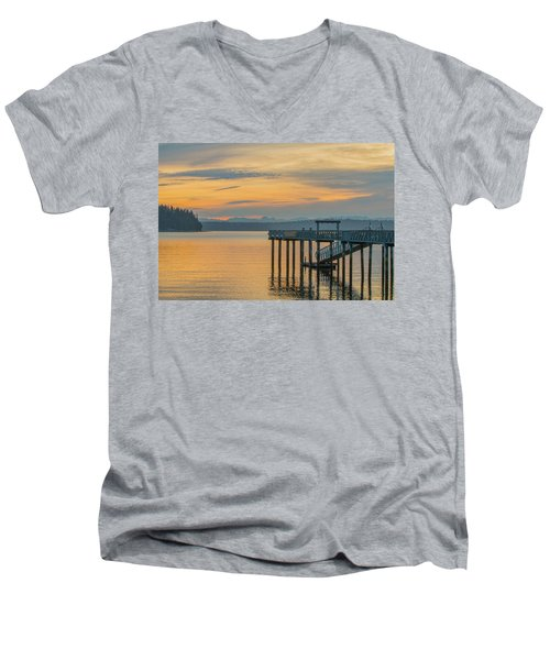 #harper Pier In The Morning Light Men's V-Neck T-Shirt