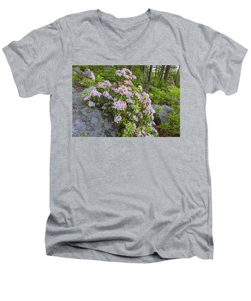 Harriman Pink And White Mountain Laurel Men's V-Neck T-Shirt