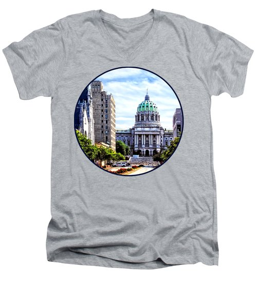 Harrisburg Pa - Capitol Building Seen From State Street Men's V-Neck T-Shirt by Susan Savad