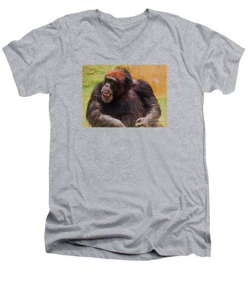 Men's V-Neck T-Shirt featuring the painting Harry by Judy Kay
