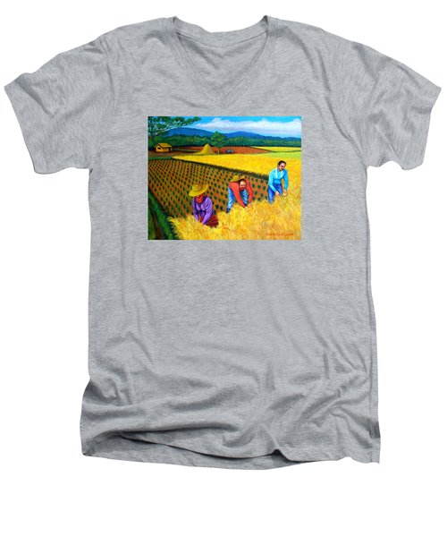 Men's V-Neck T-Shirt featuring the painting Harvest Season by Cyril Maza