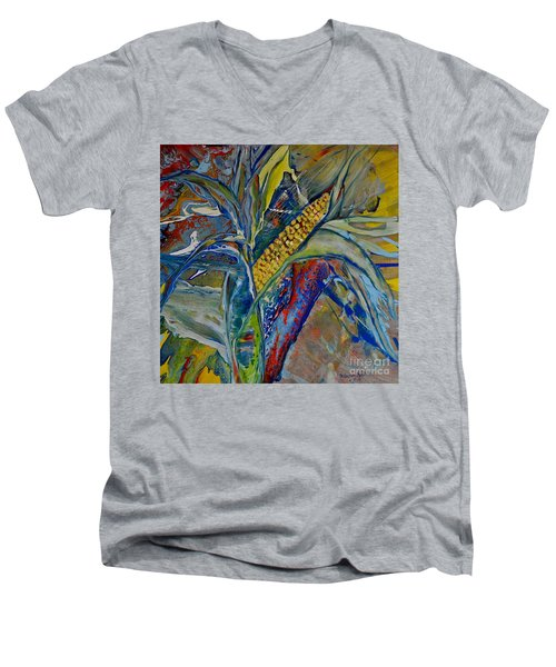 Men's V-Neck T-Shirt featuring the painting Harvest Time by Deborah Nell