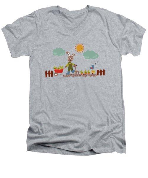 Harvest Time Men's V-Neck T-Shirt by Kathrin Legg