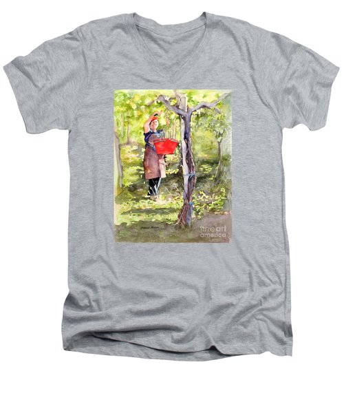 Men's V-Neck T-Shirt featuring the painting Harvesting Anna's Grapes by Bonnie Rinier