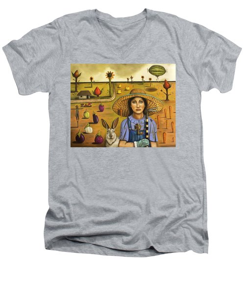 Harvey And The Eccentric Farmer Men's V-Neck T-Shirt by Leah Saulnier The Painting Maniac