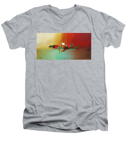 Men's V-Neck T-Shirt featuring the painting Hashtag Happy - Abstract Art by Carmen Guedez