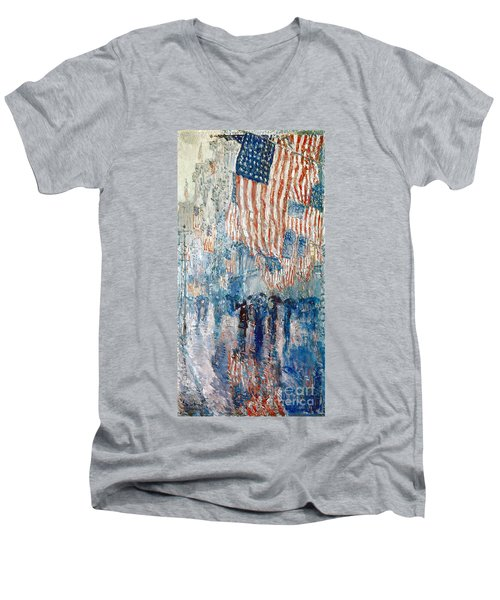 Hassam Avenue In The Rain Men's V-Neck T-Shirt