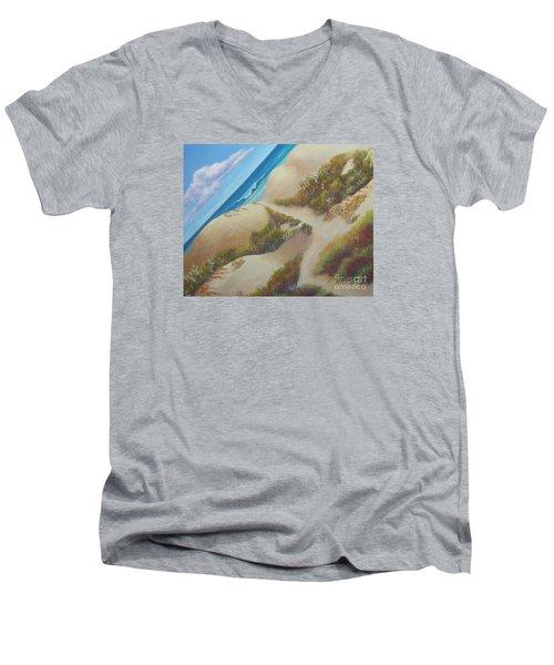 Hatteras Seashore Men's V-Neck T-Shirt by Anne Marie Brown