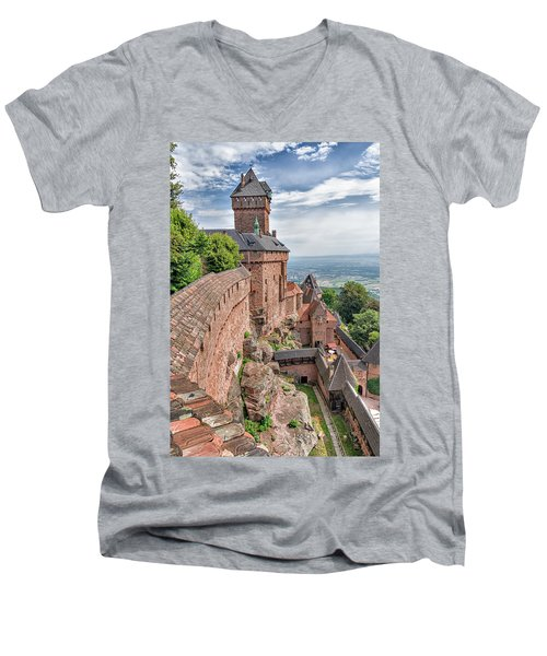 Men's V-Neck T-Shirt featuring the photograph Haut-koenigsbourg by Alan Toepfer