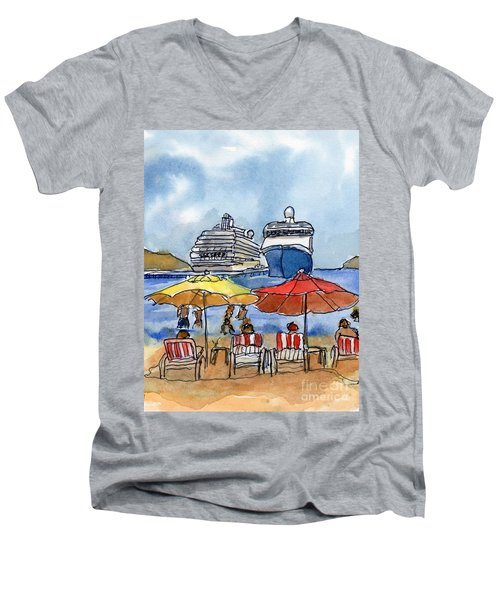 Hautuco Dock Men's V-Neck T-Shirt by Randy Sprout