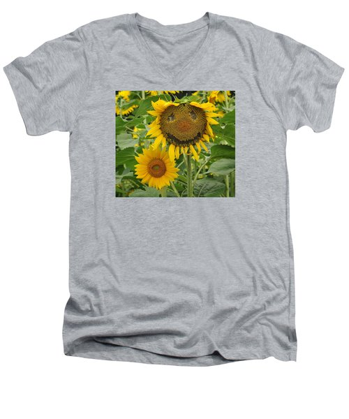 Have A Groovy Day Said The Hippie Flower Men's V-Neck T-Shirt by Joanne Brown