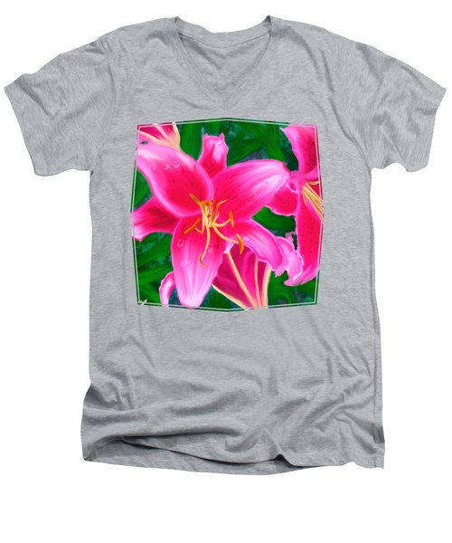 Hawaiian Flowers Men's V-Neck T-Shirt