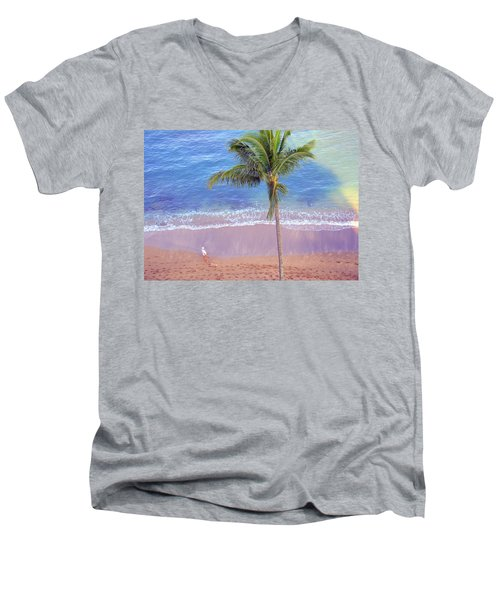 Men's V-Neck T-Shirt featuring the photograph Hawaiian Morning by Kathy Bassett