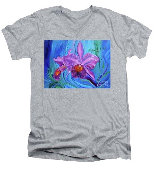Hawaiian Orchid Lavender Jenny Lee Discount Men's V-Neck T-Shirt