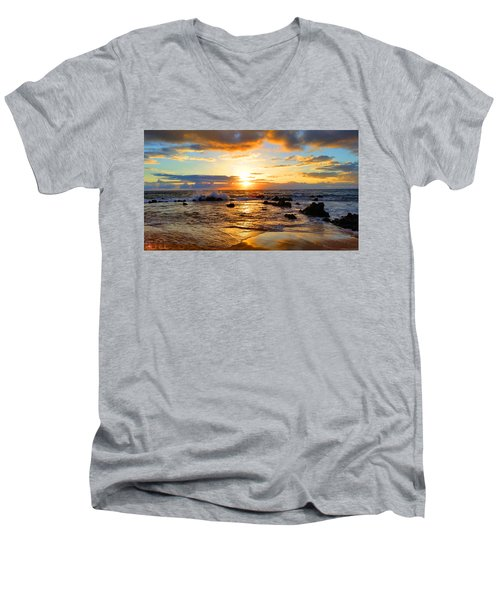 Hawaiian Paradise Men's V-Neck T-Shirt by Michael Rucker
