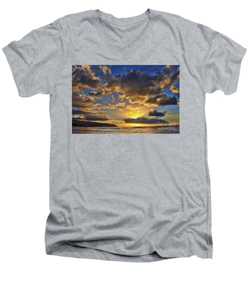 Men's V-Neck T-Shirt featuring the photograph Hawaiian Sunset by Gina Savage