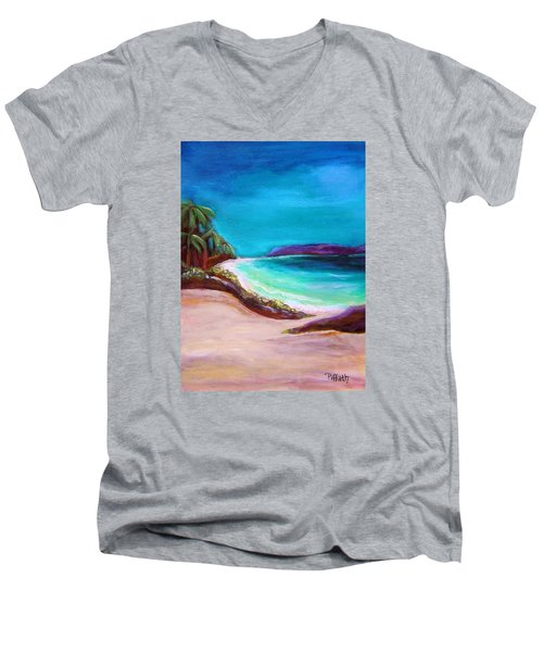 Men's V-Neck T-Shirt featuring the painting Hawaiin Blue by Patricia Piffath