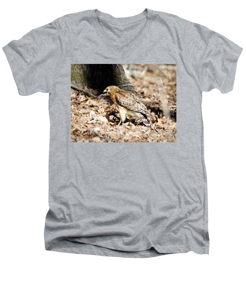 Men's V-Neck T-Shirt featuring the photograph Hawk And Gecko by George Randy Bass
