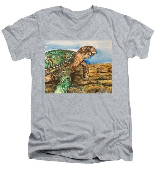 Hawkbilled Sea Turtle Men's V-Neck T-Shirt
