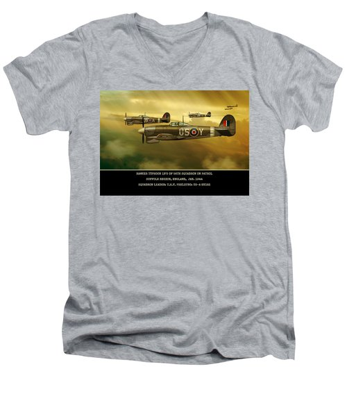 Men's V-Neck T-Shirt featuring the digital art Hawker Typhoon Sqn 56 by John Wills