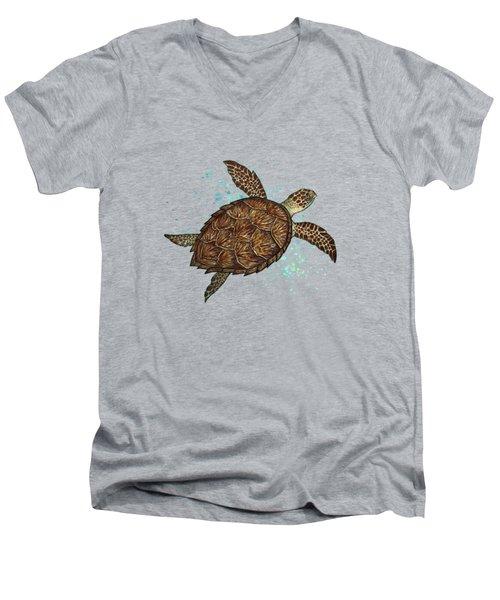 Hawksbill Sea Turtle Men's V-Neck T-Shirt by Amber Marine