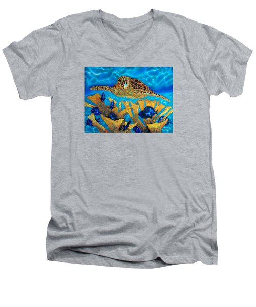 Hawksbill Sea  Turtle Men's V-Neck T-Shirt