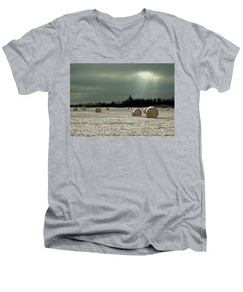 Hay Bales In The Snow Men's V-Neck T-Shirt by Judy Johnson