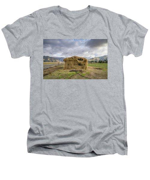 Hay Hut In Andes Men's V-Neck T-Shirt