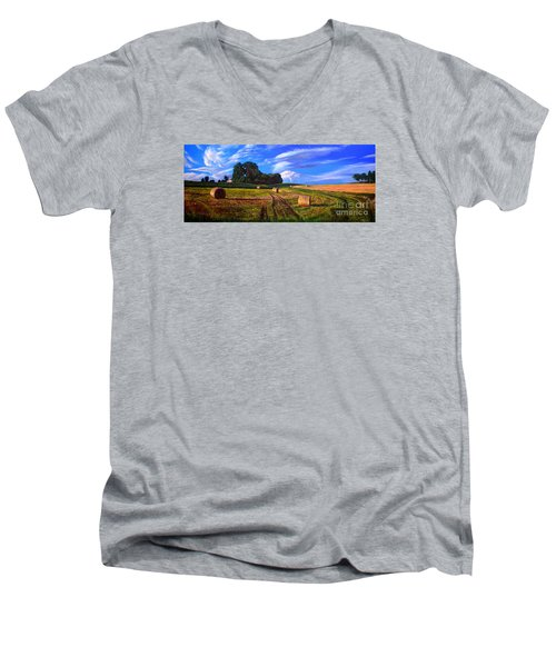 Hay Rolls On The Farm By Christopher Shellhammer Men's V-Neck T-Shirt