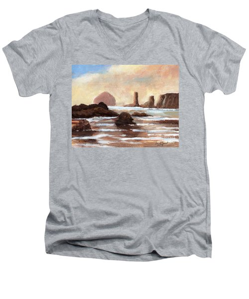 Hay Stack Reef Men's V-Neck T-Shirt by Randy Sprout