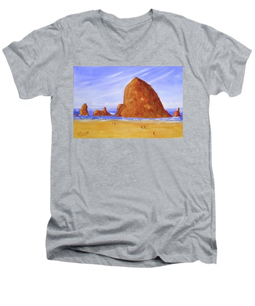 Hay Stack Rock Men's V-Neck T-Shirt