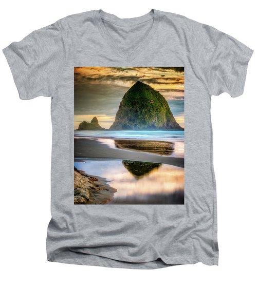 Haystack At Sunset Men's V-Neck T-Shirt