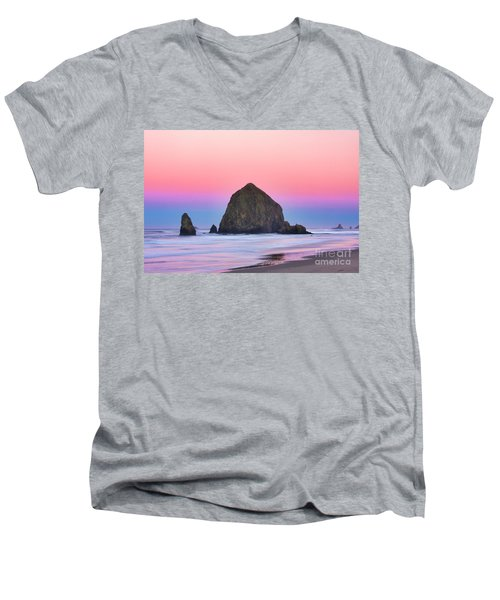 Haystack Rock At Dawn Men's V-Neck T-Shirt