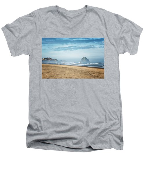 Haystack Rock Pacific City Men's V-Neck T-Shirt