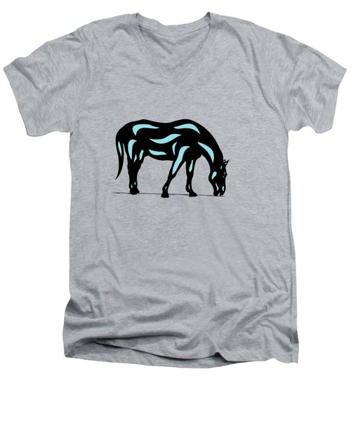 Hazel - Pop Art Horse - Black, Island Paradise Blue, Hazelnut Men's V-Neck T-Shirt