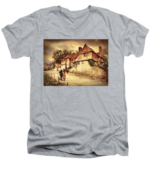 Men's V-Neck T-Shirt featuring the digital art Hazelmere Cottage - English Lake District by Lianne Schneider