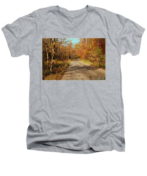 Men's V-Neck T-Shirt featuring the digital art Hazen Notch Summit Road by John Selmer Sr